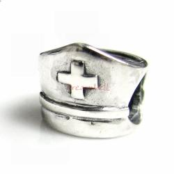 Sterling silver Nurse Cap Bead for European Charm Bracelets