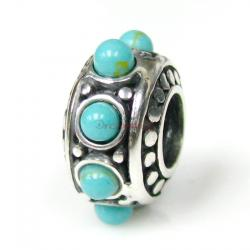 Sterling silver ROUND Bead Turquoise DOT stone for European Charm Bracelets