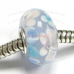 Sterling Silver ROUND Murano Flower Sky Blue Glass Bead for European Charm Bracelets