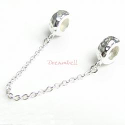 Sterling Silver Stopper Safety Chain Hammered Bead for European charm Bracelets