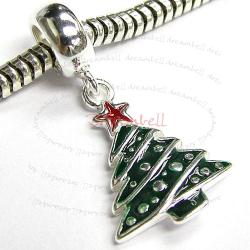 STERLING SILVER Christmas Tree Dangle Enamel CHARM Pendant for European Style Charm