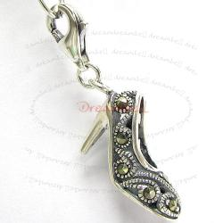 STERLING SILVER MARCASITE high heel shoe Dangle CHARM Pendant for European Lobster Clip on Charm