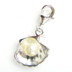 Sterling Silver Shell White pearl Dangle  Pendant for European Lobster Clip on Charm