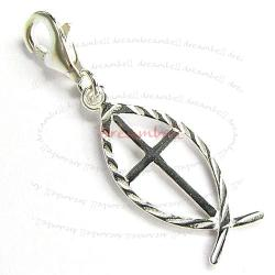 STERLING SILVER Fish Dangle CHARM Pendant for European Lobster Clip on Charm