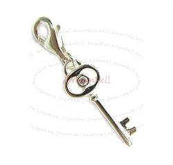 STERLING SILVER clear CZ Key Dangle Pendant for European Lobster Clip on Charm