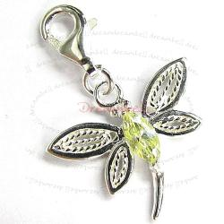 Sterling Silver Green Dragonfly CZ Crystal Dangle Pendant for European Lobster Clip on Charm
