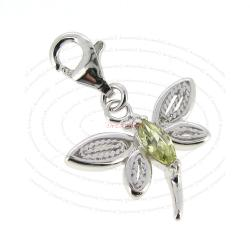 Rhodium Sterling Silver Green Dragonfly CZ Crystal Dangle Pendant for European Lobster Clip on Charm