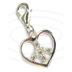 1x Bright Sterling silver FILGREE HEART PEACE RECTANGULAR clear CZ Dangle Pendant for European Lobster Clip on Charm