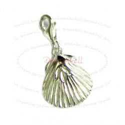 Sterling Silver Shell Dangle Pendant European Lobster Clip on Charm 17.3mm