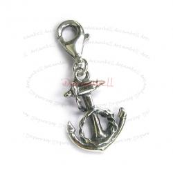 Sterling Silver Anchor Dangle Charm Pendant for European Lobster Clip on Charm