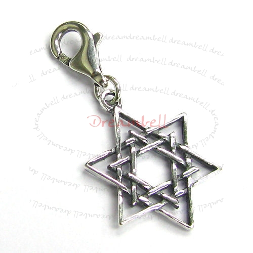 1x Sterling silver Magic Star of David Dangle Pendant for European Lobster Clip on Charm