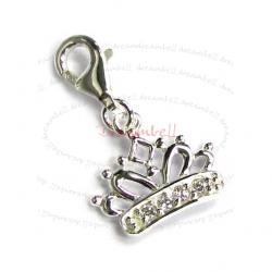Sterling Silver Crown Cz Dangle Pendant for European Lobster Clip on Charm