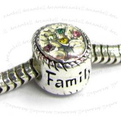 Sterling Silver Family Tree of Love Pink Rose Yellow Green  Bead 10mm for European Charm Bracelets