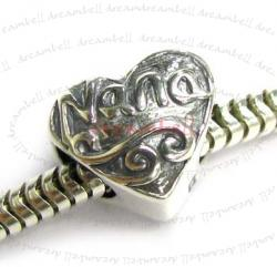 STERLING SILVER Antique HEART LOVE Nana Bead  for European Charm Bracelets