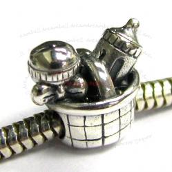 Sterling silver Mom's Baby Kid Bottle BASKET set Bead for European Charm Bracelets