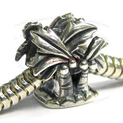 1x Sterling Silver Coconut  Palm Tree Bead for European Charm Bracelets