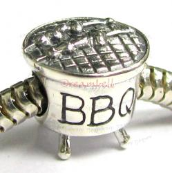 Sterling Silver Pinic Party BBQ Bead for European Charm Bracelets