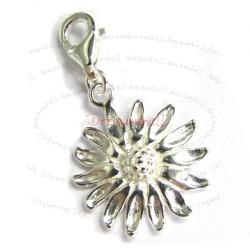 Sterling Silver Sun Flower Dangle Pendant Bead for European Lobster Clip on Charm