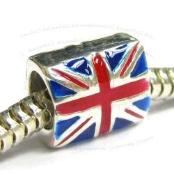 Sterling Silver UK Flag enamel Bead for European Charm Bracelets