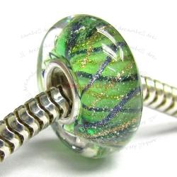 Sterling Silver Murano Flower Green Glass Bead for European Charm Bracelets