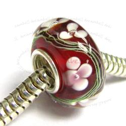 Sterling Silver Murano Flower Red Glass Bead for European Charm Bracelets 13mm