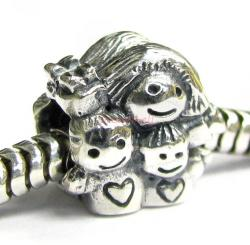 Sterling Silver Mom and Kids / Daughter & Son Happy Family Bead for European Charm Bracelets