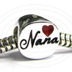 Sterling Silver Love Nana Red Heart Enamel Bead for European Charm Bracelets