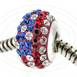 Sterling Silver ROUND Blue Red White American Flag Ferido crystals for European Charm Bracelet jewelry