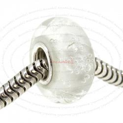 Sterling Silver Clear Bubble Murano Glass Bead for European Charm Bracelets