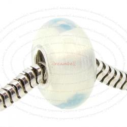 Sterling Silver Round White Moon Stone Bead for European Charm Bracelets