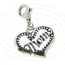 1x Sterling Silver Love Mom Heart Dangle Pendant for European Lobster Clip on Charm
