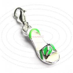 Sterling Silver High Heel Shoe Enamel Dangle Pendant for European Lobster Clip on Charm