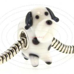 Sterling Silver Round Black White Spot Dalmatian Puppy Dog Glass Bead for European Charm Bracelets