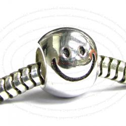 925 Sterling Silver Smiley Happy Face Big Smile Fits European Charm Bracelet