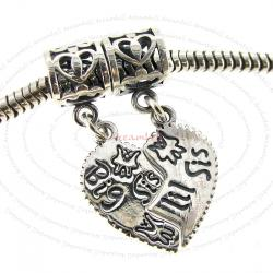 Sterling Silver Big Lil Sis Sister Love Heart Pendant Dangle Bead for European Charm Bracelets