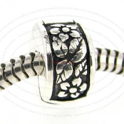 Sterling Silver Flower Clip Stopper Lock Bead for European Charm Bracelets