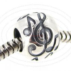 1x 925 Sterling Silver Melody Music Note Treble G Clef Bead Fits European Charm Bracelet