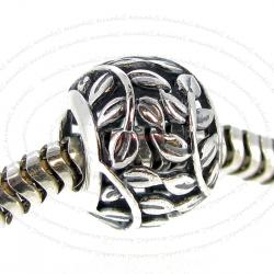 .925 Sterling Silver Round Tree of Love Leaf European Bead Charm