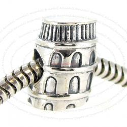 Sterling Silver Italy Leaning Tower of Pisa Bead for European Charm Bracelets