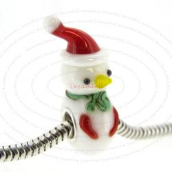 Sterling Silver Round Christmas Snowman Glass Bead for European Charm Bracelets