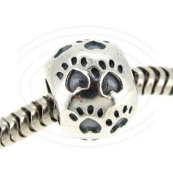 Sterling Silver Dog Puppy Footprint Paw on Round Bead for European Charm Bracelets