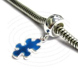 Sterling Silver Autism Awareness Blue Puzzle Enamel Dangle Bead for European Charm Bracelets