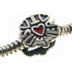 925 Sterling Silver I Love Summer Heart Enamel European Bead Charm
