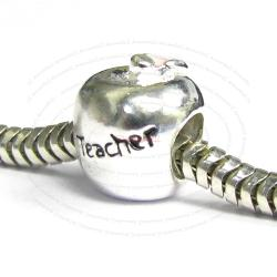 925 Sterling Silver Teacher's Apple Fruit of Knowledge Enamel European Bead Charm