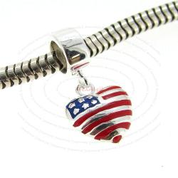 Sterling Silver Love USA Flag Enamel Heart Dangle Bead for European Charm Bracelets