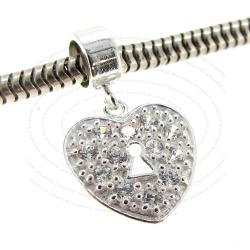 Sterling Silver CZ Crystal Heart Love Lock Dangle Bead for European Charm Bracelets