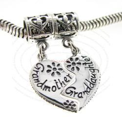 Sterling Silver Granddaughter Grandmother Love Heart Dangle Pendant Bead for European Charm Bracelets
