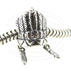 Sterling Silver American Indian Feather Headdress Hat Dangle Bead for European Charm Bracelets