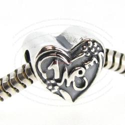 Antique 925 Sterling Silver Love #1 MOM Heart European Bead Charm