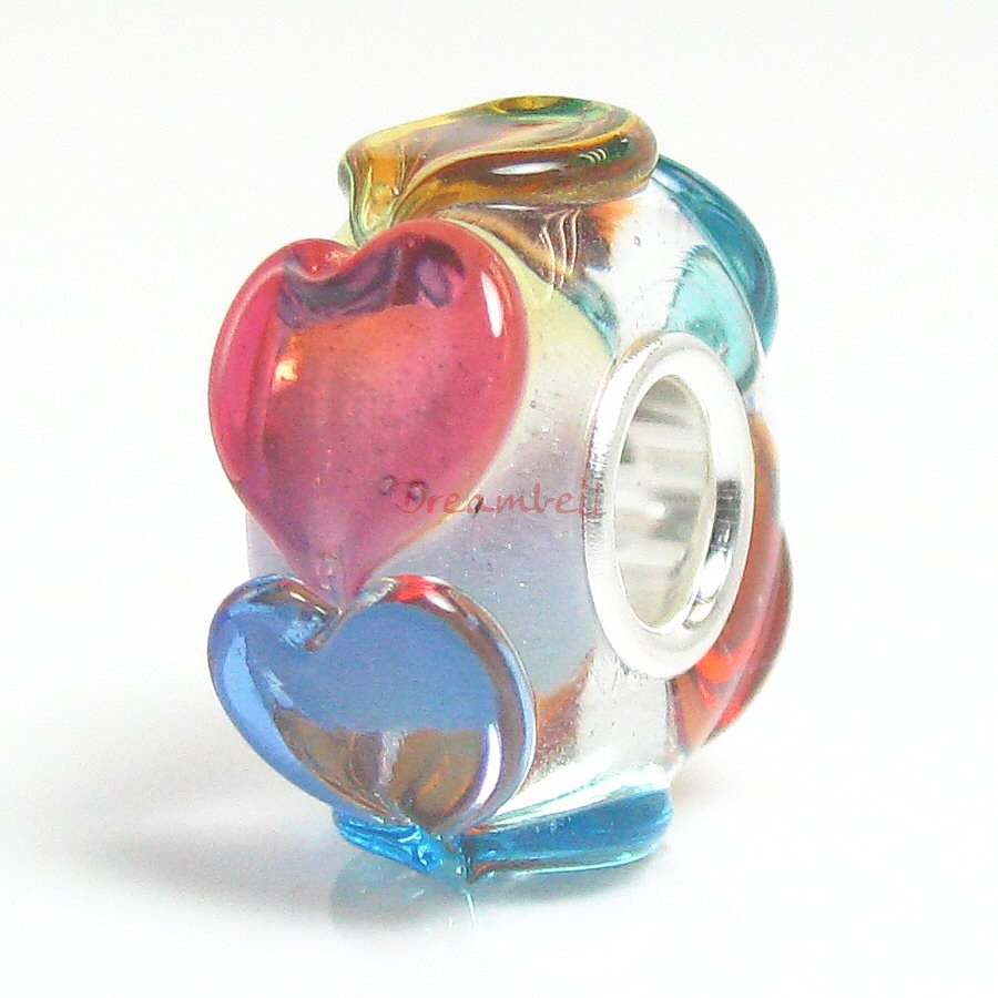 Sterling Silver Colorful Heart Glass Bead for European Charm Bracelets